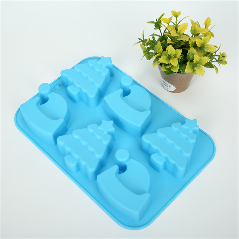 Supply Silicone Mold Creative 6 Christmas Tree Hat Shape Soap Mould DIY Cake Decorating Chocolate Mould Baking Tool Hand Made