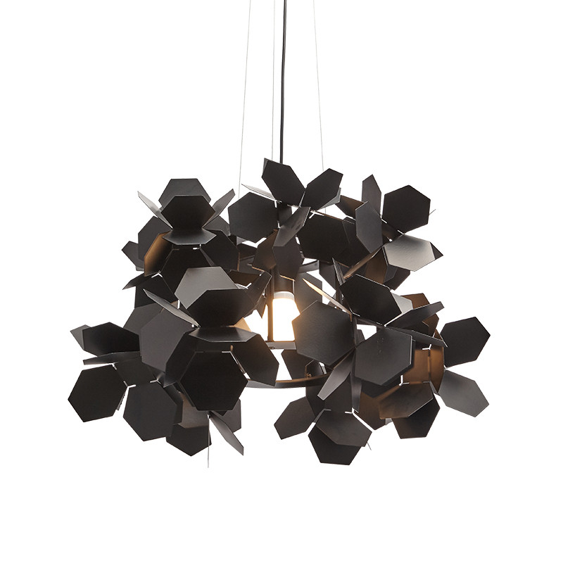 Modern Black Flower Pendant Light Retro Metal Suspension LED Lamp Restaurant Bar Study Simple Electroplating Home Lighting G951