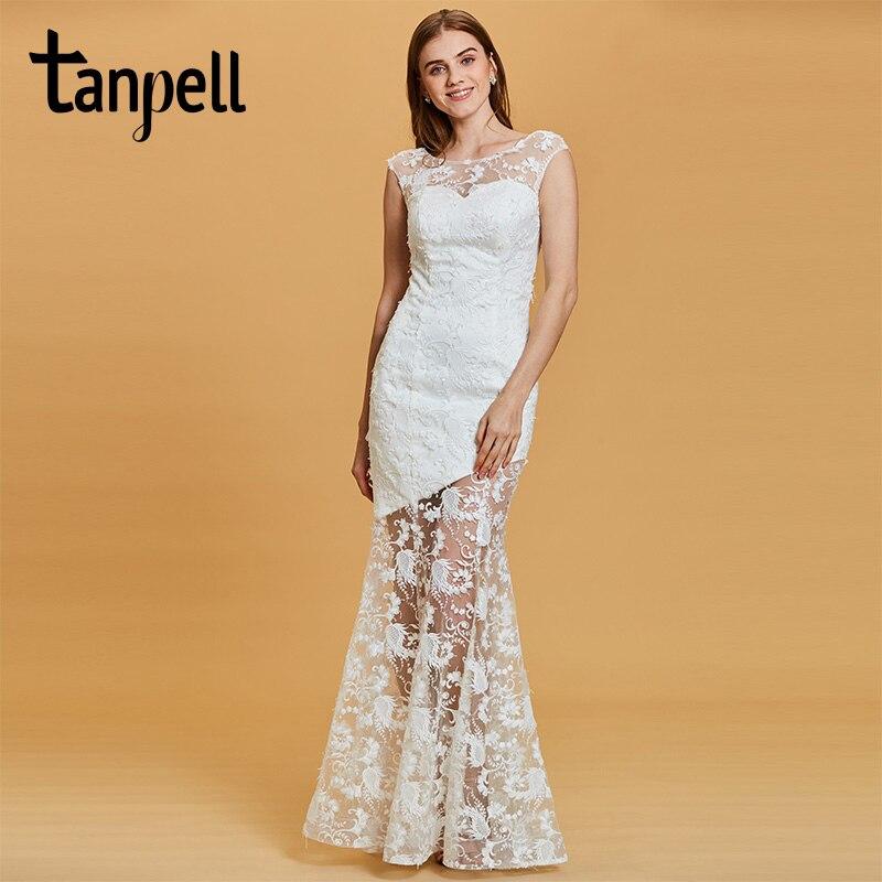 fe6e194692f Tanpell Длинные вечернее платье белое кружево Бато Cap рукава длина до пола  русалка платье Женские Свадебная вечеринка Формальное вечернее плат.