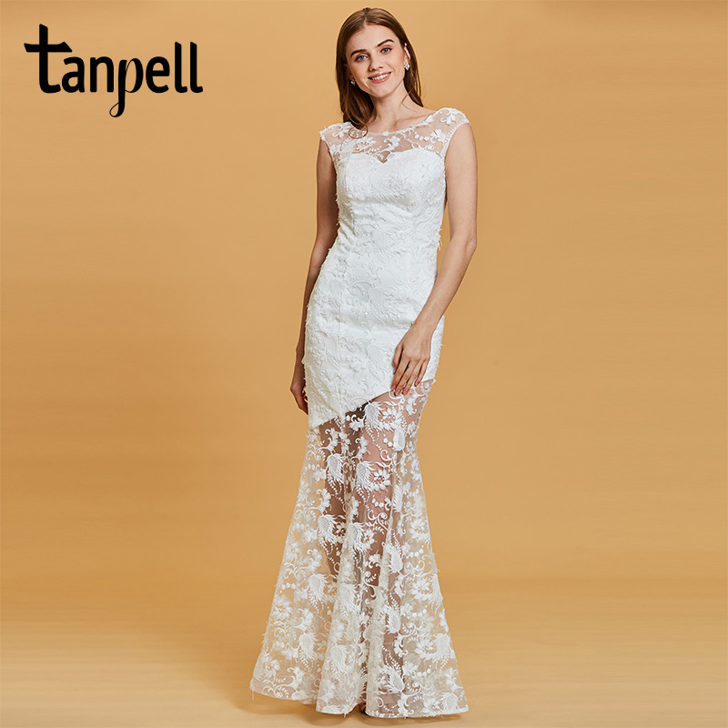 Tanpell long evening dress white lace bateau cap sleeves floor length mermaid gown women wedding party formal evening dresses
