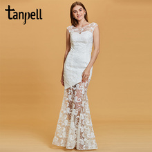 цена на Tanpell long evening dress white lace bateau cap sleeves floor length mermaid gown women wedding party formal evening dresses