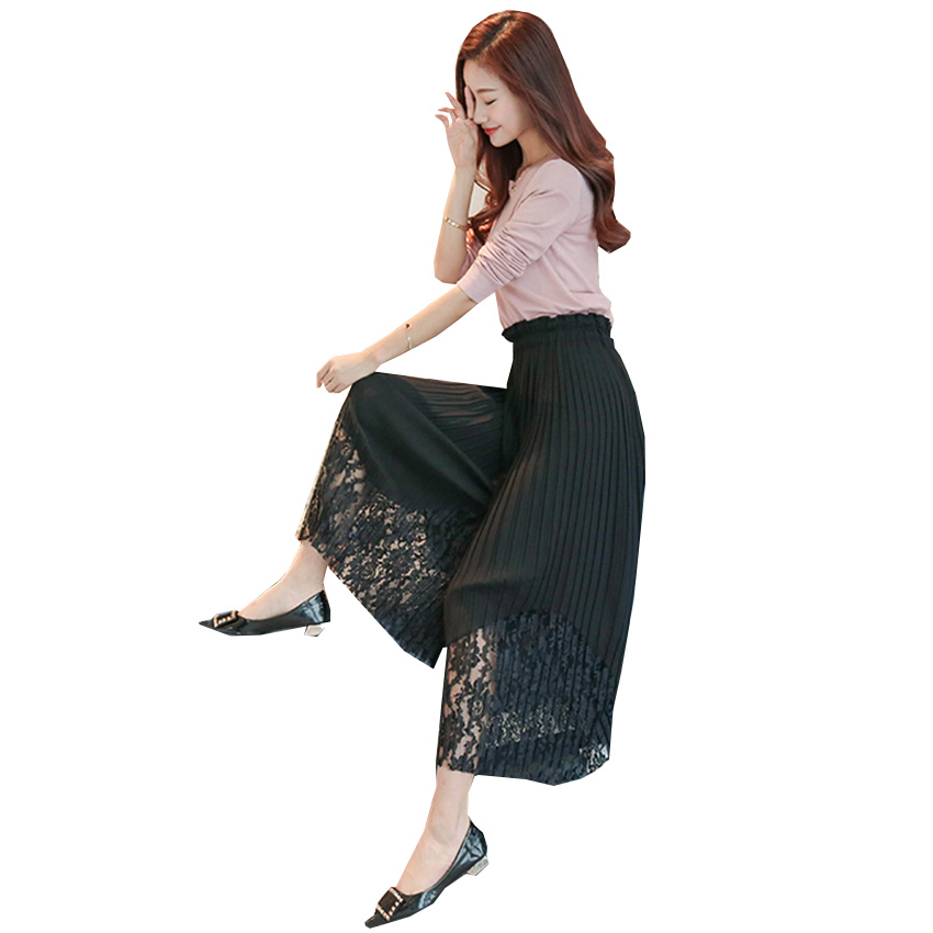 New Spring Summer Chiffon Spliced Lace Wide Leg Pants Women OL Pleated Chiffon Trousers Elegant High Waist Female Leggings Mw197 3