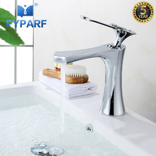 FYPARF Chrome/Oil Rubbed Bronze Bathroom Basin Faucet Waterfall Bath Washbasin Mixer Taps For Bathroom In Basin Faucets B1001 black bathroom sink washbasin bath set faucet mixer taps square gold tempered glass oil rubbed bronze bathroom basin tap set