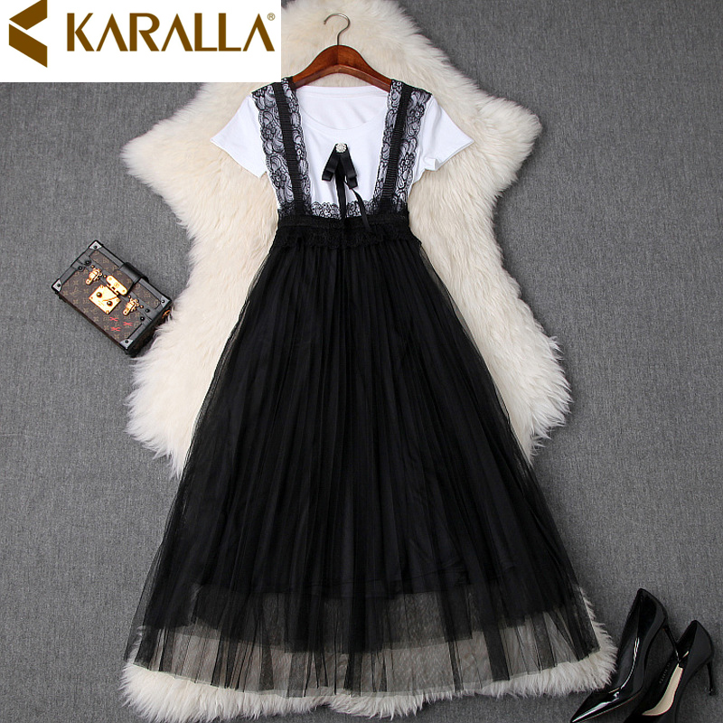 Women's New Bow-tie White T-shirt + Lace Mesh Pleated Suspender Skirt Two-piece Sets Ladies Casual Wear C1174