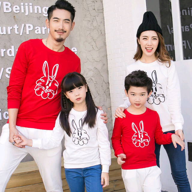 Rabbit Family Set Full Sleeve O-neck T shirts Family Matching Outfit Mother Daughter Father Son Clothes Family Clothing GL19