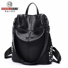 Марка женщины кожи заклепки рюкзак корейский стиль дизайнер черный bookbag mochila mujer de couro feminina back pack