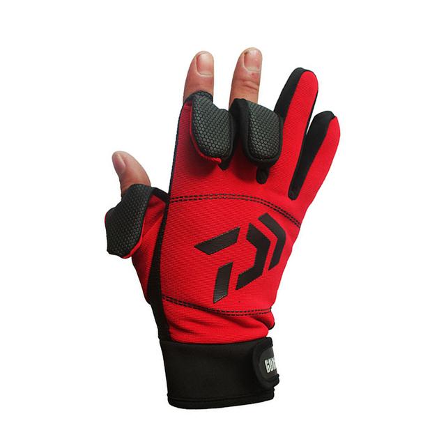 Daiwa Winter Warm Fishing Gloves Cotton 3 Fingers Cut Waterproof Anti-slip Fishing Glove Outdoor Riding Hiking Sports