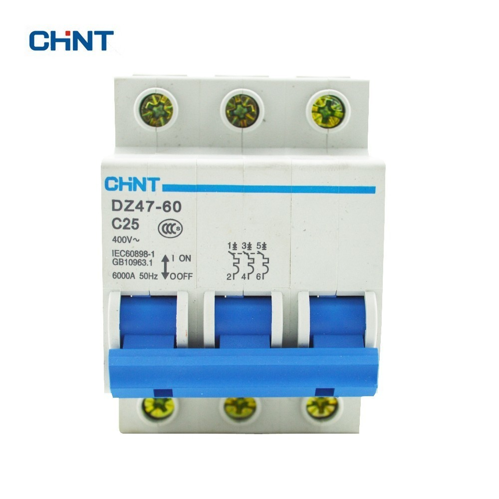 CHINT 3P 25A 230/440V~ DZ47-60 C25 Air Switch Household Lighting Plastic Circuit Breaker new ezd100e 3p 80a ezd100e3080n plastic breaker