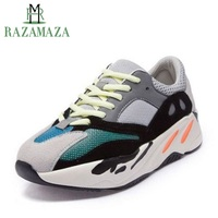 RAZAMAZA Women Real Leather Sneakers 2019 Mixed Color Casual Flats Shoes Women Lace Up Outdoor Light Fitness Shoes Size 35 40