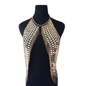 Image 1 - Boho Sexy Magnificent Metal Sequins Tassel Harness Necklace Bra Chain Women Jewelry Bikini Metal Alloy Statement Body Chain