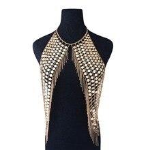 Boho sexy magnífico metal lantejoulas borla chicote de fios colar bra corrente biquini feminino liga de metal instrução corrente do corpo