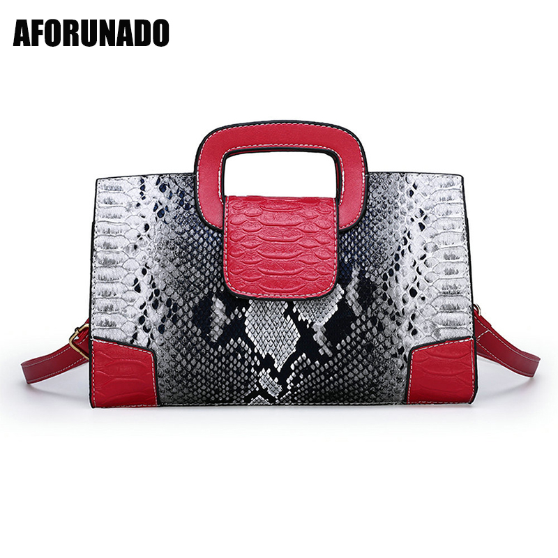 PU Leather Luxury Handbags Women Bags 2019 New Serpentine Ladies Hand Bag Embossing Messenger Bag Women Shoulder Bag sac main(China)