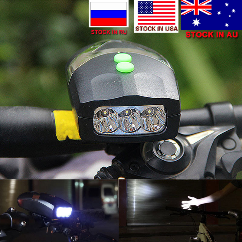 Dropshipping 3LED Bike Bicycle Front Light White Light Head Light Cycling Lamp & Electronic Bell Horn Hooter Siren Waterproof