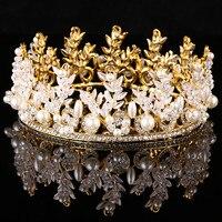 Magnífico claro espumoso gran boda diamante desfile tiaras Hairband cristal nupcial coronas para novias Bisutería para pelo Celada