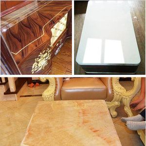 Image 4 - 50cm x 200cm 2Mil Glossy Transparent Furniture Table Glass Protective Film Home Table Desk Sticker Protective with adhesive