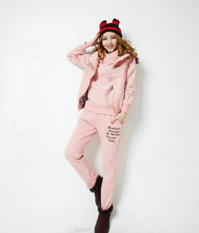 Spessore Gilet Costume Caldo Di Set xxl amp; 3 Hoodie Taglia Pezzo 5 Colori Del Abbigliamento Casual Pantaloni Sportivo Insieme Vestito Inverno M Donne gPZP0d