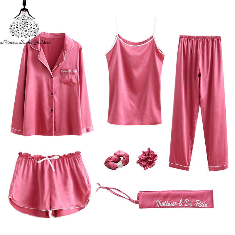 7 Pieces Women's Silk Satin   Pajamas     Set   Long Sleeve Nightwear Homewear Nightwear Satin For Women Pyjama   Set   Loungewear
