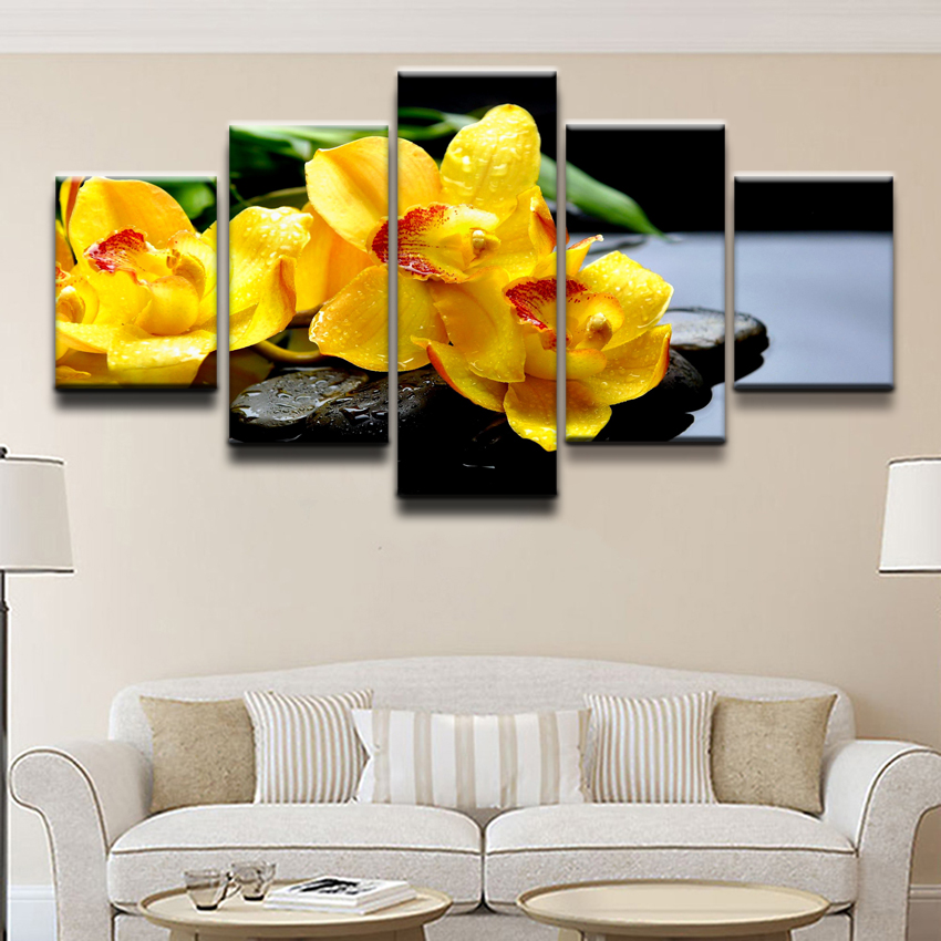 Canvas-Painting-Home-Wall-Art-Print-Pictures-5-Pieces-Flower-Orchid-Spring-Stone-Water-Yellow-Flower