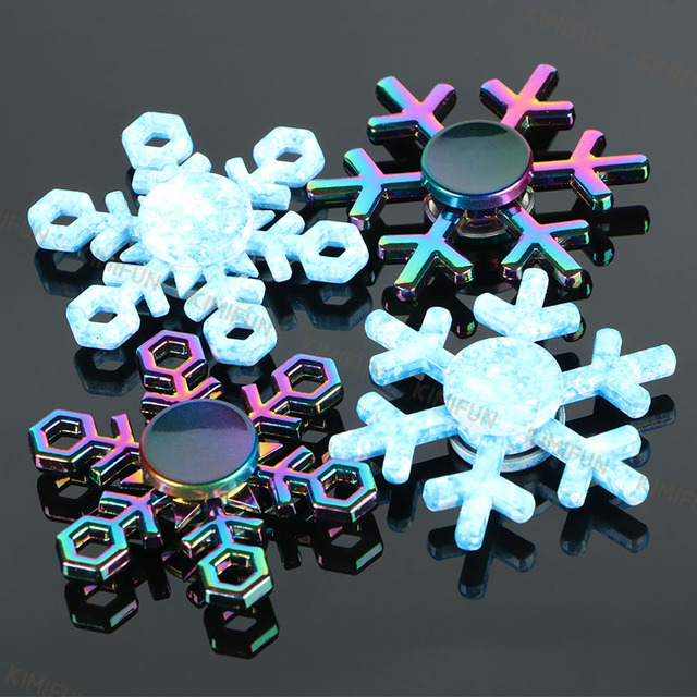 Новый снежинка Спиннеры EDC руки блесны аутизм СДВГ подарок на день рождения Детские Рождественские подарки металл палец Игрушечные лошадки блесны