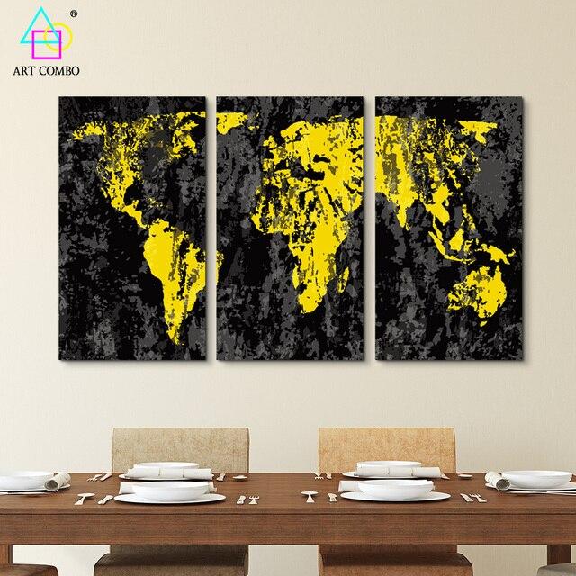 3 Paneles Sin Marco Pintura de la Lona Negro Oro Mundial Mapa Dibujo ...