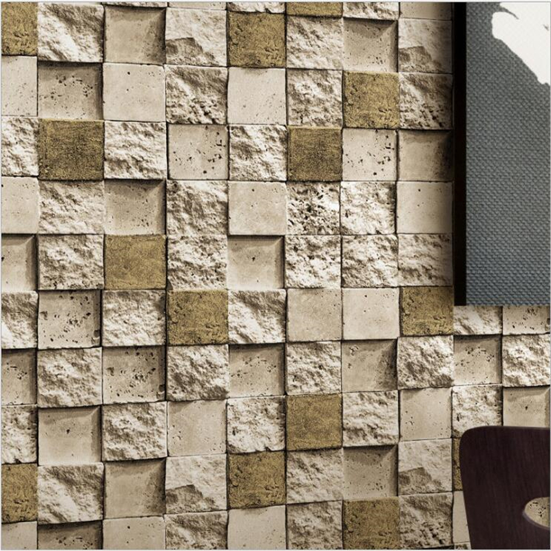beibehang Retro Brick Wallpaper 3d Cubic Culture Stone Wallpaper Background Wall Restaurant PVC Mosaic Brick Wall paper custom retro wallpaper personality background painting used in hotel restaurant coffee shop background wall vinyl wallpaper