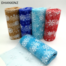 6inch*10Y Snowflake Printed Organza Tulle Rolls for Christmas Decoration Frozen Party Tutu Skirt Wedding Dress Supplies Deco(China)