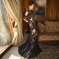 Гала Elbise длиной макси обнаженной цвета кружевном платье в пол Vestiti Eleganti Lunghi Formales Abendkleid элегантные длинные рукава вечерние платья