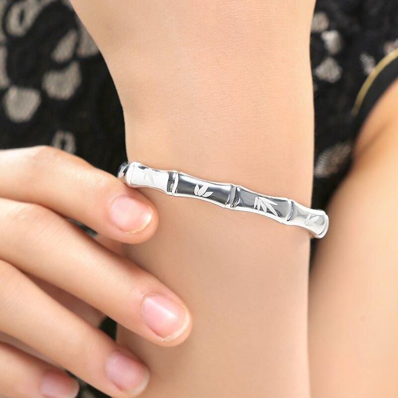 Женский модный изящный Открытый 100% 999 серебряный модный браслет браслеты с бамбуковым принтом знаменитый браслет, женская бижутерия подарок - 2