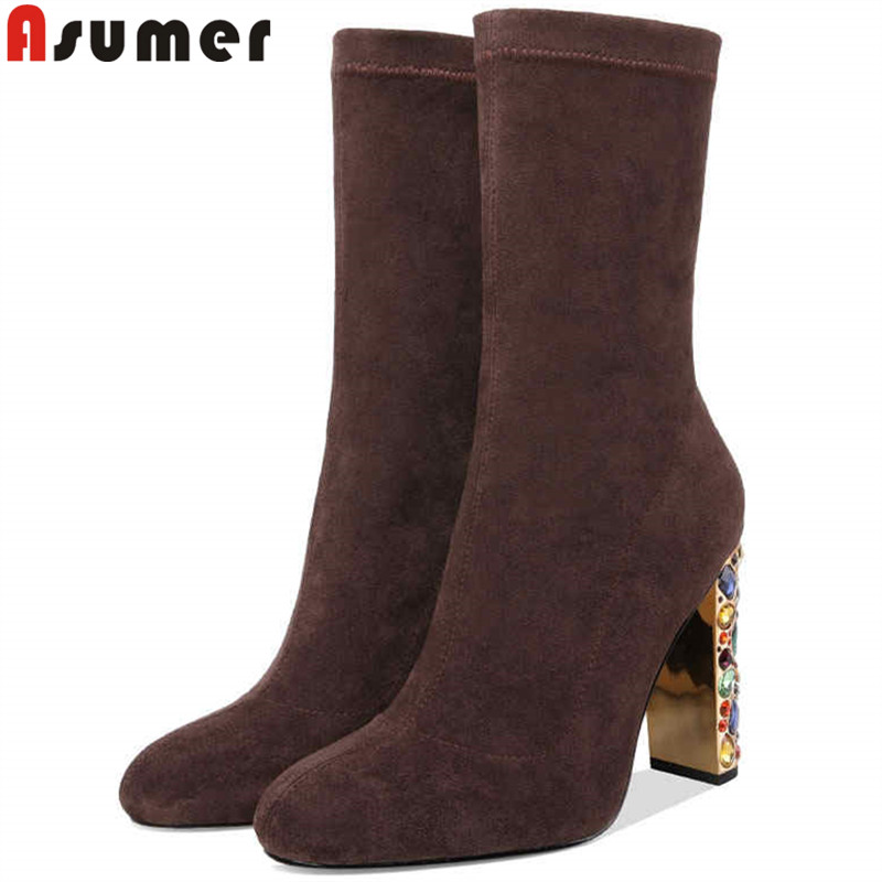 ASUMER big size ladies autumn winter boots round toe mid calf boots super high heels faux suede boots rhinestone women shoes цена 2017