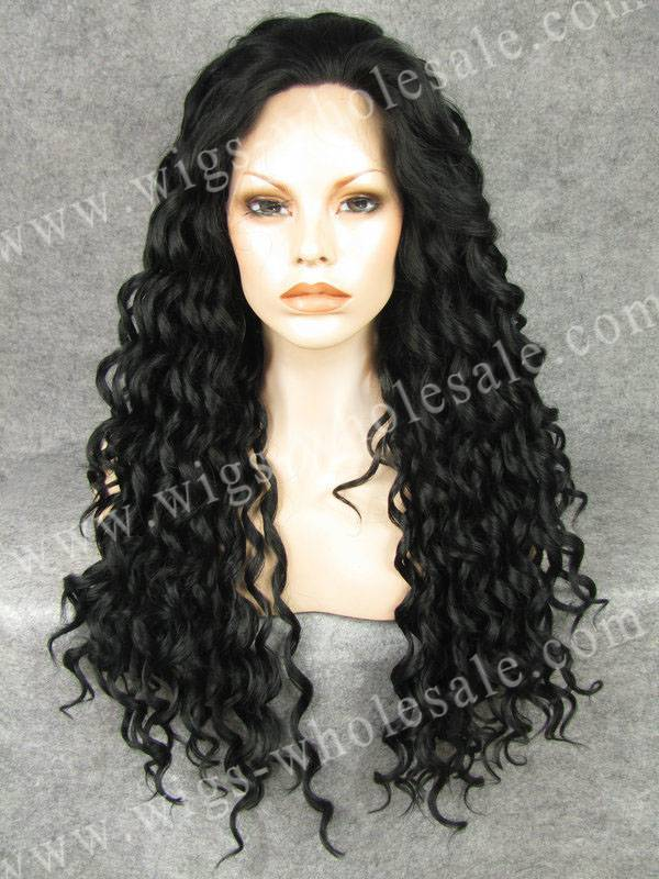 ФОТО Hot Sale Jet Black Girl Wigs Black Afro Curly Synthetic Lace Front Wig