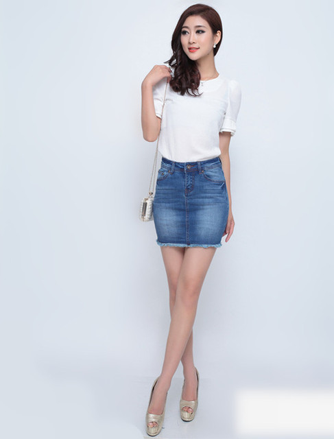 Aliexpress.com : Buy 2015 Colleage Wind Burr Jean Denim Skirt ...