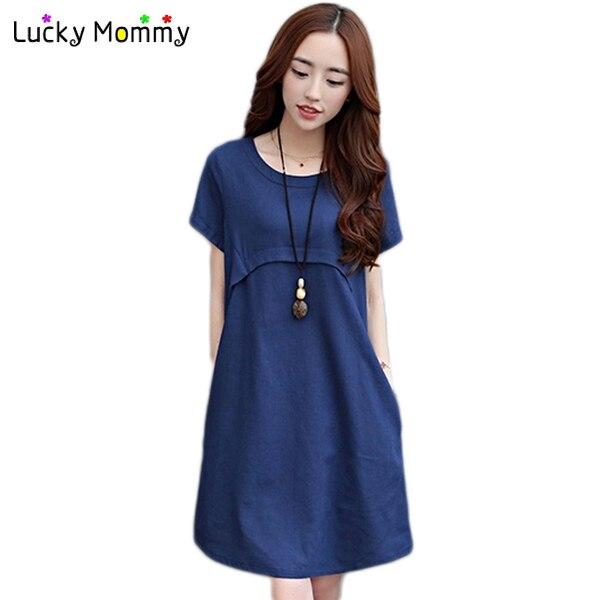 ade03849b Más el tamaño de maternidad vestido de algodón vestido de talle alto  maternidad vestidos embarazadas verano mujer manga corta ropa embarazo en  Vestidos de ...
