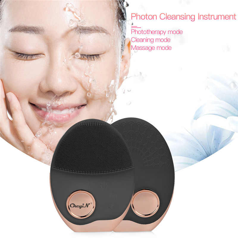 Image 4 - Mini Electric Ultrasonic Wireless charging Facial Cleansing Brush Silicone Rechargeable Face Waterproof Massager with Photon 40-in Powered Facial Cleansing Devices from Home Appliances