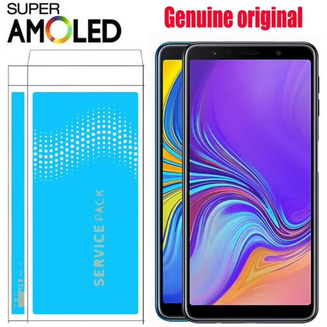 """ORIGINAL 6,0 """"SUPER AMOLED para SAMSUNG Galaxy A7 2018 SM-A750F A750F A750 pantalla LCD de pantalla táctil digitalizador Asamblea"""