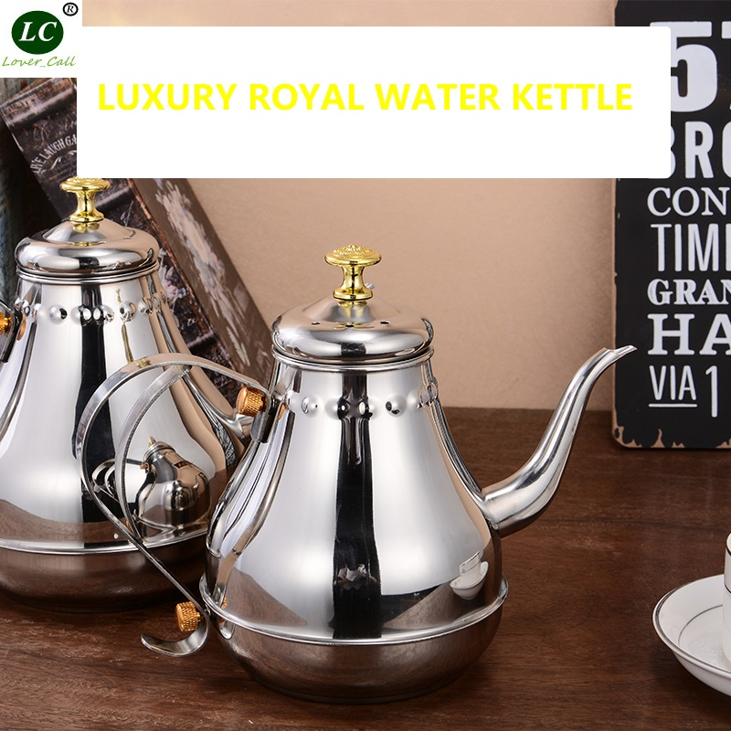 Water Pot Silver Stainless steel Teapot with Filter Long mouth Coffee Pot Hotel Home Induction Cooker Hand pot 1200ml/1800ml