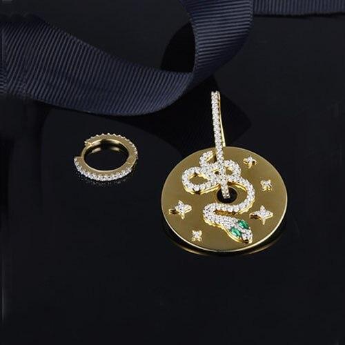 SLJELY 925 Sterling Silver Green Eyes CZ Snake Asymmetric Earrings Women Gold Color Coin Cubic Zircon