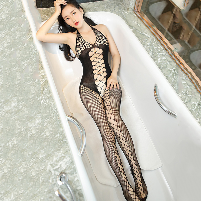 2017 New Sexy Fishnet Bodystocking For Women Open Crotch Tight Hollow Halter Lingerie Pantyhose Shoulder Strap Porn Stockings