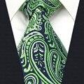 B18 Зеленый Пейсли Шелковый Мужской Галстук Галстук Свадебной Моды Галстуки для мужчин Платье удлиненные размер Носовой Платок