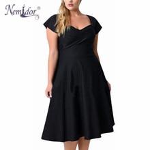 Nemidor Short Sleeve Elegant Black Midi Casual Dress