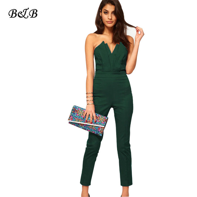 Sexy Basic Rompers Women Strapless Jumpsuit Sleeveless Bodycon Off Shoulder Bodysuit Slim Long Pants Wear To Work Office 2016
