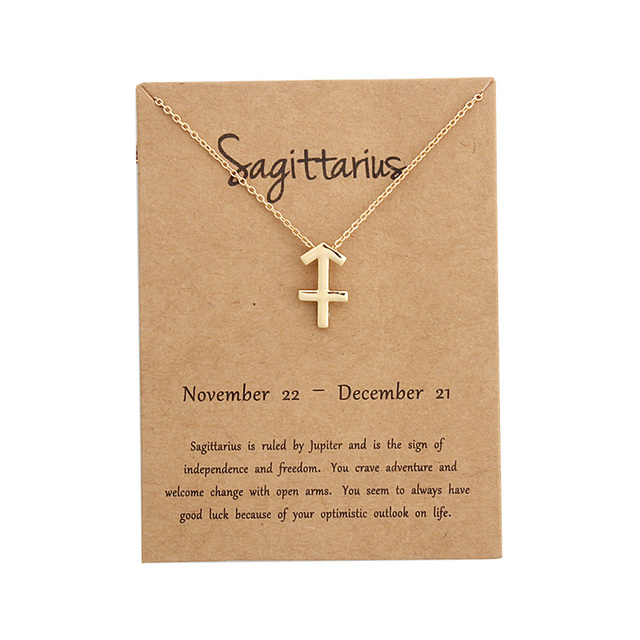 Zodiac Sign Necklace Birthday Gifts Message Card for Women Girl