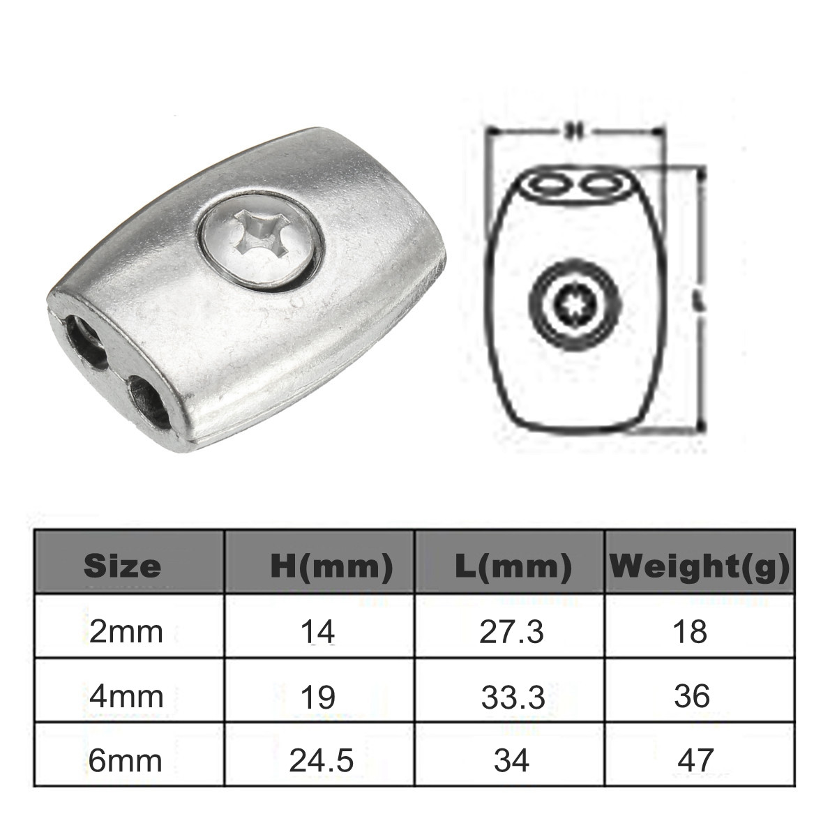 Cable Clamp 2/4/6mm Thread Wire Rope Grip Cable Simplex Clamp Nickel ...