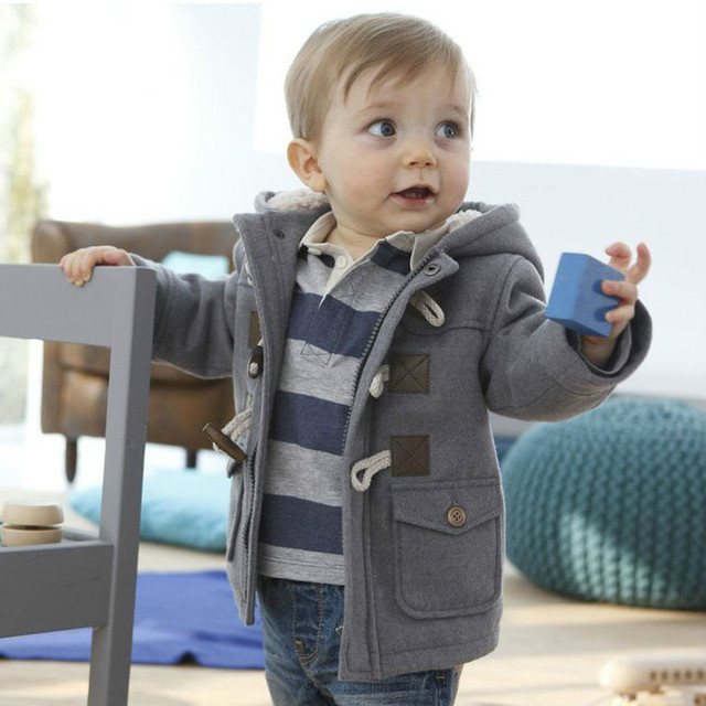 Winter Wear Boys Down Coat Horn Button Hooded Fleece Jacket 0-5 Years Top Quality Thick Warm Casual Manteau Hiver Free Shiping