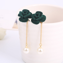 Korea Style Fashion Handmade Cloth Rose Flower Shape Clip on Earrings No Pierced for Women Party Wedding Charm Pierced Earrings