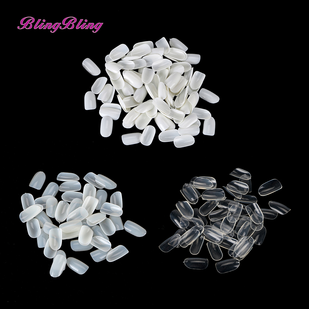 500pcs/bag Nail Art Round End Oval Clear Natural White False Nails Fake Nails Tips French Manicure Artificial Nails 24 pcs hot sale golden rivet splicing nail art fake toe nails