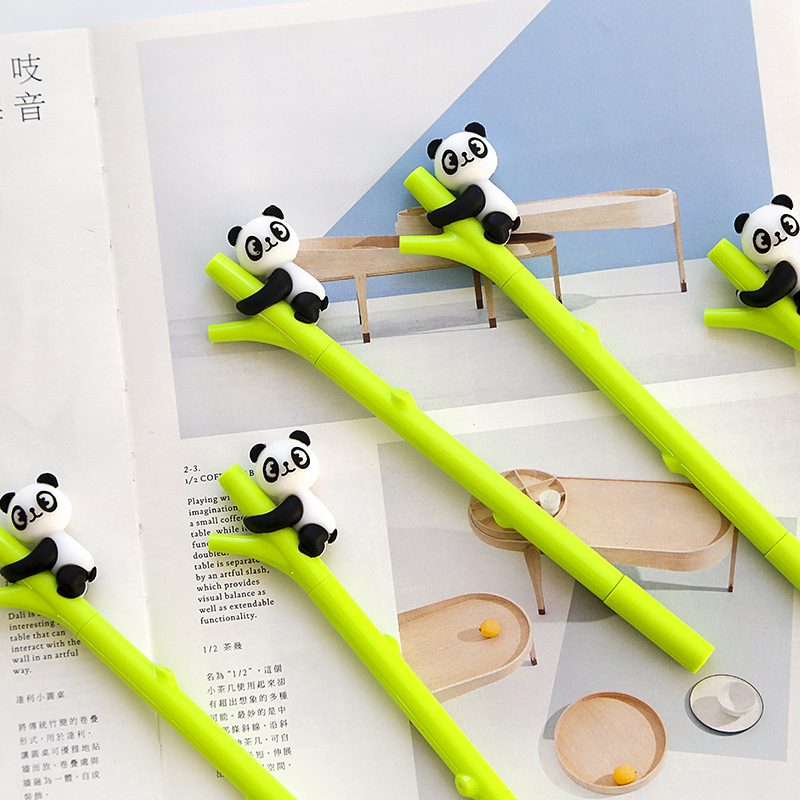 2pcs Cute Panda Shape Gel Pen 0.5mm Black Ink Pen Canetas Criativa Kawaii Stationery Office School Supplies cluci free shipping get 40 pearls from 20pcs 6 7mm aaa blue round akoya oysters twins pearls in one oysters