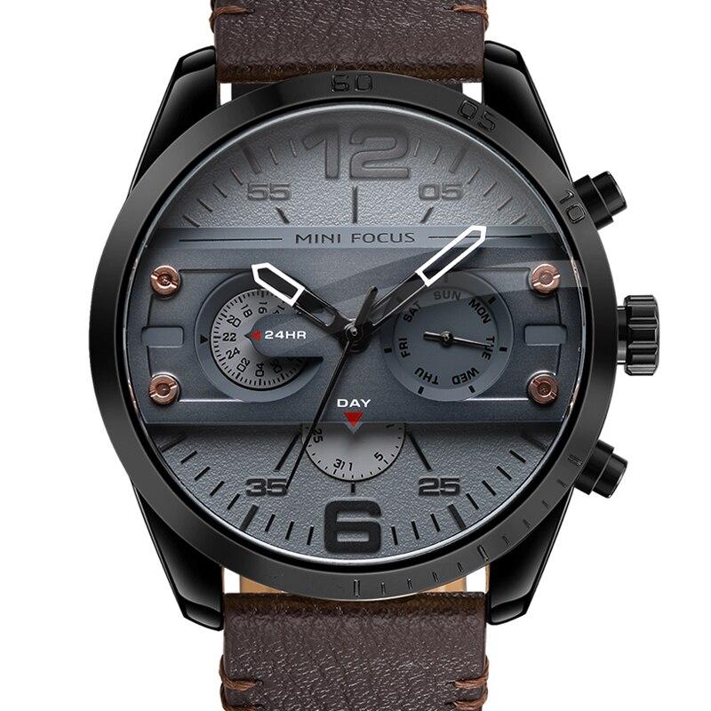 2018 Chronographe Hommes de Casual Sport Quartz Montre Hommes Montres Top Marque De Luxe Bracelet En Cuir Militaire Montre hommes Poignet Mâle horloge
