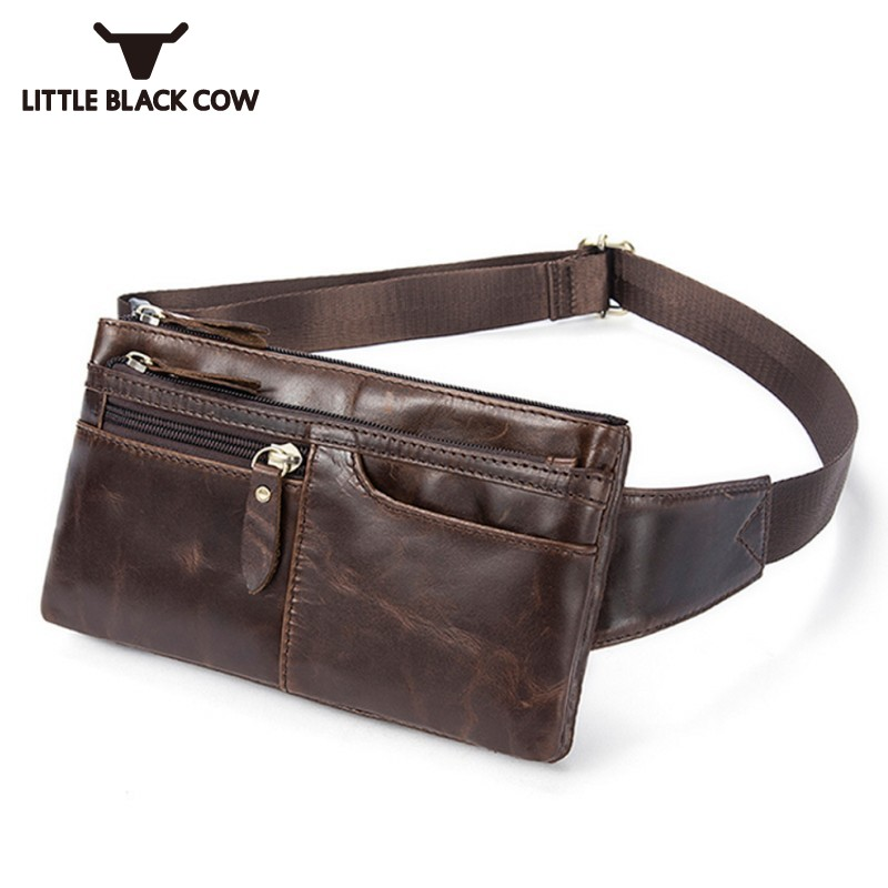 Travel Waist Pack Male Brown Retro Genuine Leather Small Waist Bag Men Belt Bag Black Multi Layer Zipper Phone Pouch Bags 2019