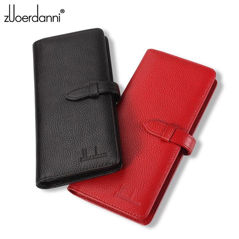 Купить с кэшбэком New Fashion Buckle Card Holder Genuine Leather Men Credit Card Case Women Bank/ID Card Bag Large Capacity