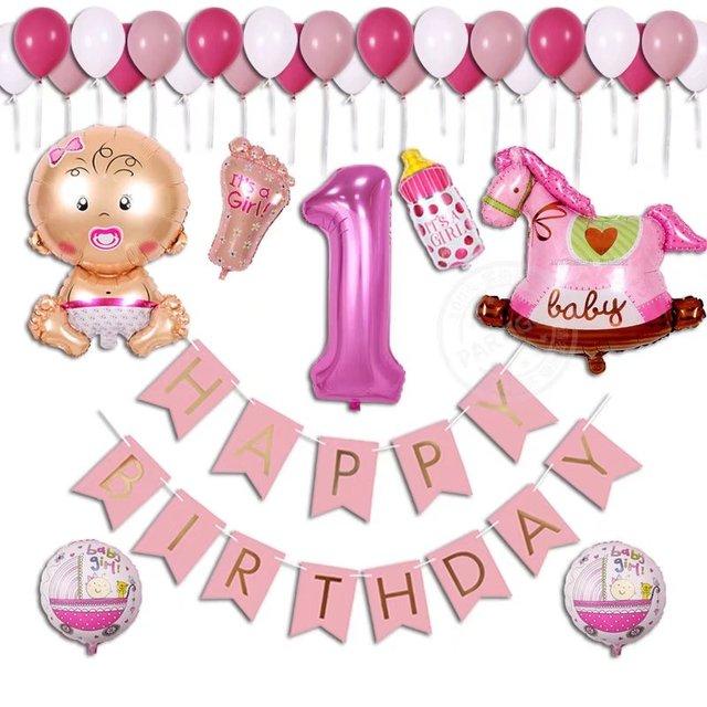 38 Teile/los Baby Shower Geburtstag Ballon Junge Mädchen 1 Jahre Alt Banner  Happy Birthday